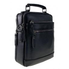 На фото 1 - Мужская чёрная сумка под документы из фактурной натуральной кожи