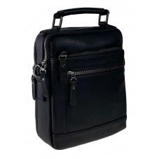 На фото 1 - Мужская сумка для документов из натуральной кожи, цвет чёрный