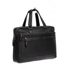 На фото 1 - Сумка-портфель мужская из фактурной натуральной кожи, цвет чёрный