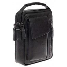 На фото 1 - Мужская сумка-слинг из фактурной натуральной кожи, цвет чёрный