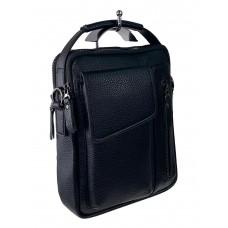 На фото 1 - Мужская сумка-трансформер под документы из натуральной кожи, цвет чёрный