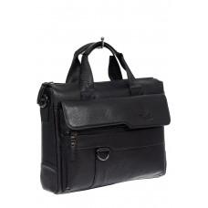 На фото 1 - Мужская кожаная сумка - портфель, цвет черный