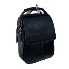 На фото 1 - Кожаная мужская сумка-трансформер, цвет чёрный