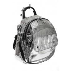 На фото 1 - Блестящий молодежный рюкзак, цвет серебро