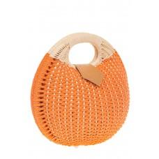 на фото Соломенная сумка-шар оранжевого цвета 825