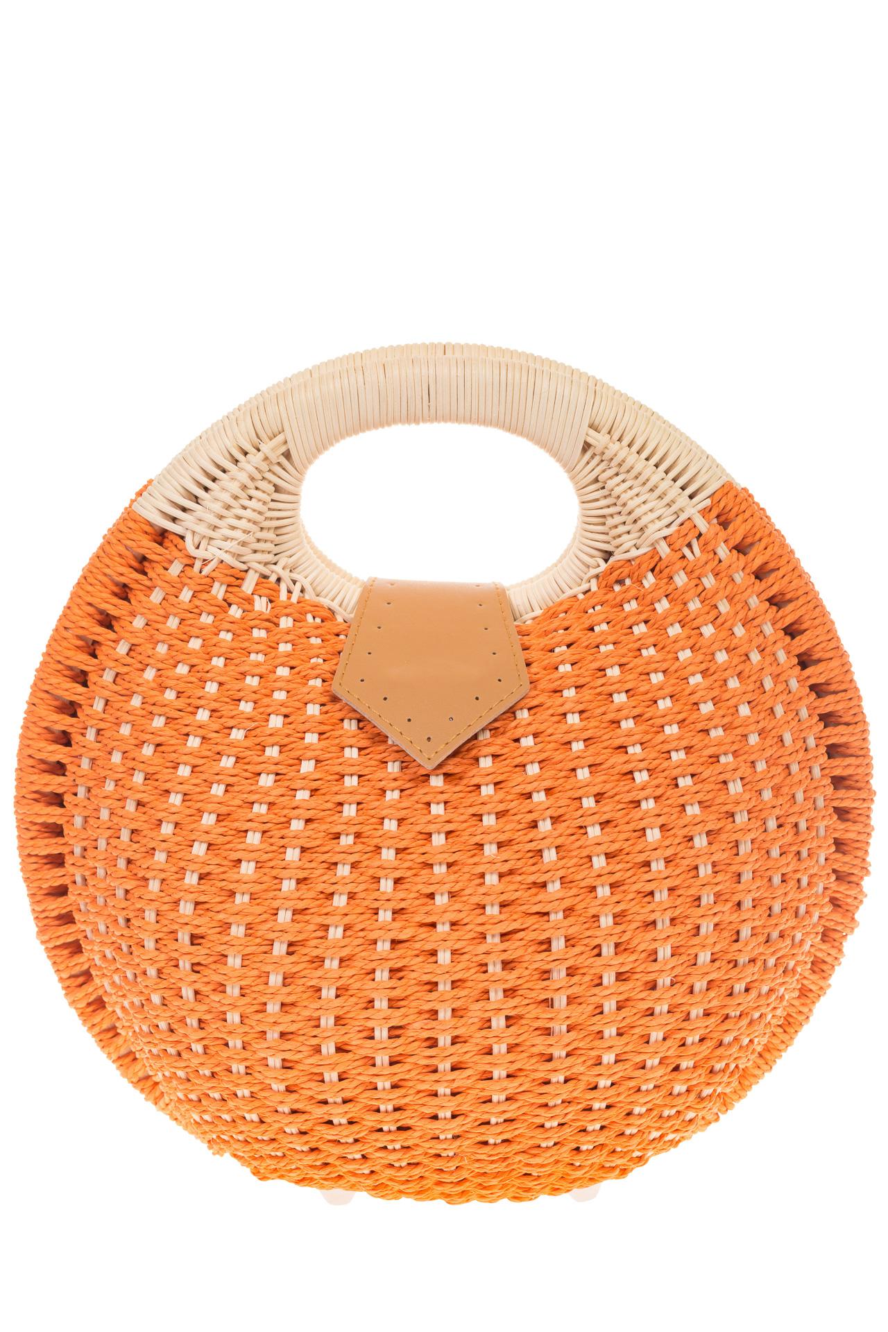 На фото 2 - Женская соломенная сумка-шар оранжевого цвета 1923