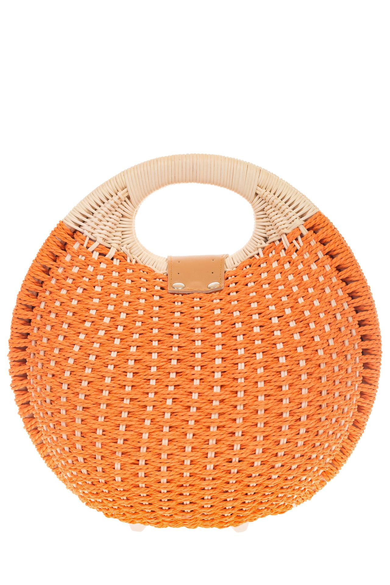 На фото 3 - Женская соломенная сумка-шар оранжевого цвета 1923