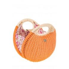 На фото 4 - Женская соломенная сумка-шар оранжевого цвета 1923