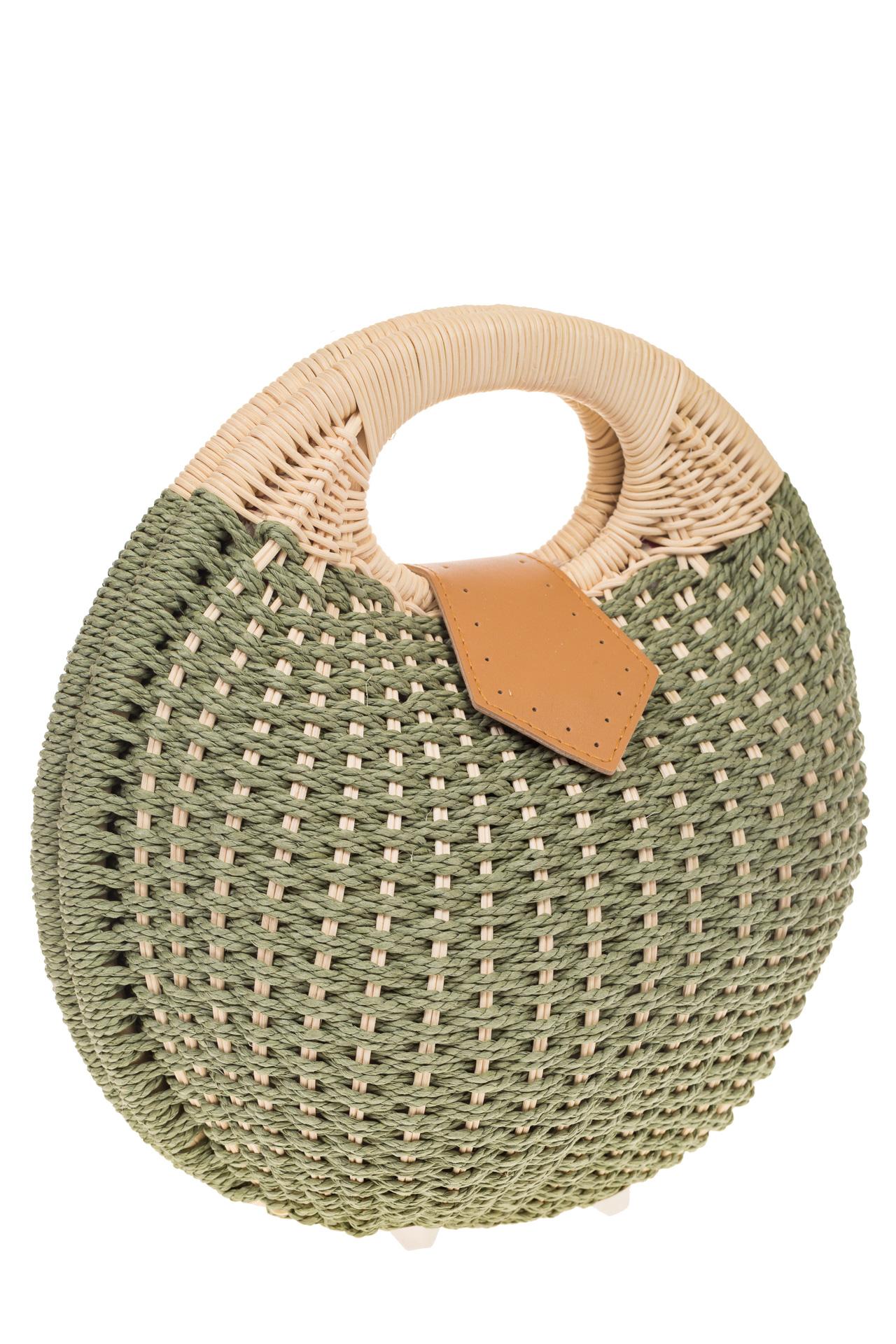 на фото Соломенная сумка-шар оливкового цвета 825