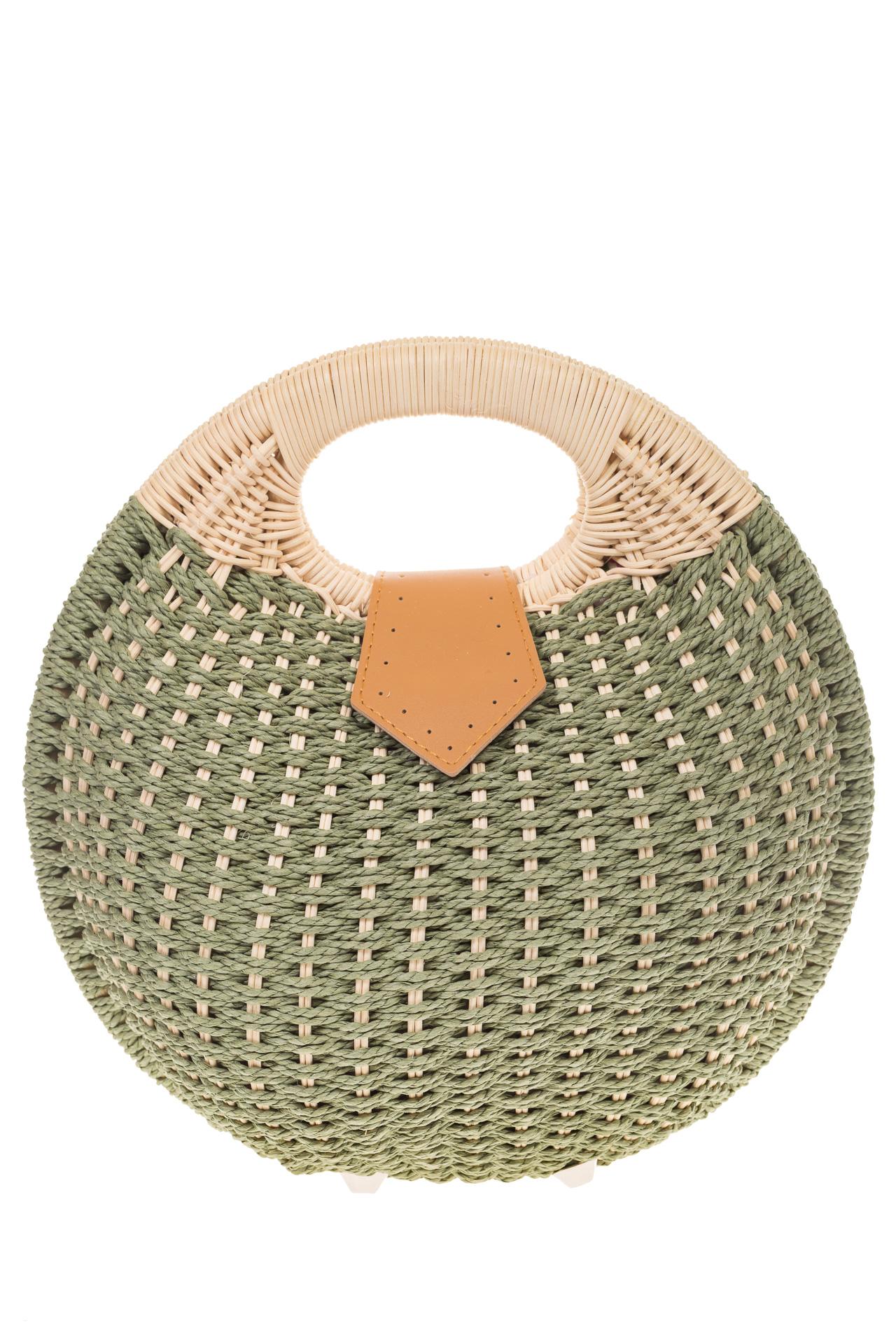 На фото 2 - Соломенная сумка-шар оливкового цвета 1923