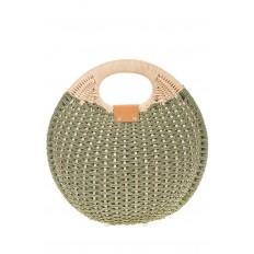 На фото 3 - Соломенная сумка-шар оливкового цвета 1923