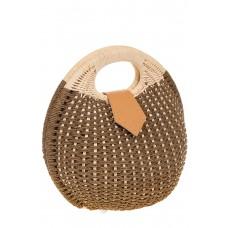 на фото Соломенная сумка-шар коричневого цвета 825