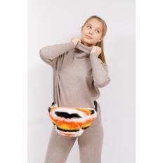 На фото 5 - Поясная женская сумка из искусственного меха, оранжевый
