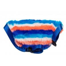 На фото 3 - Поясная женская сумка из искусственного меха, цвет сине-голубой