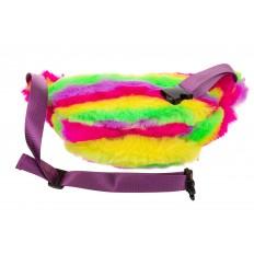 На фото 3 - Поясная женская сумка из искусственного меха, цвет желто-зеленый