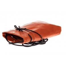 На фото 3 - Сумка-малышка из натуральной кожи, цвет оранжевый