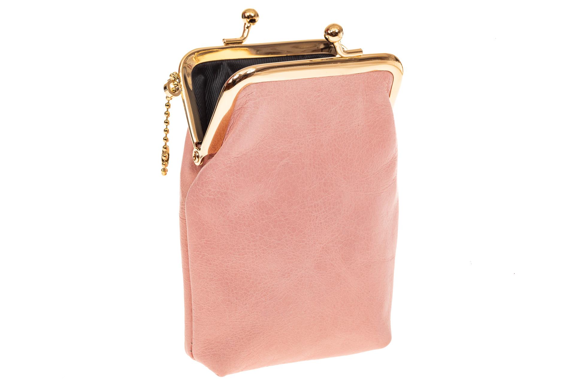 На фото 1 - Монетница из натуральной кожи, цвет розовый