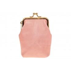 На фото 2 - Монетница из натуральной кожи, цвет розовый