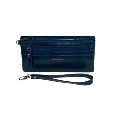 На фото 1 - Маленький кошелёк-клатч из мягкой искусственной кожи, цвет синий