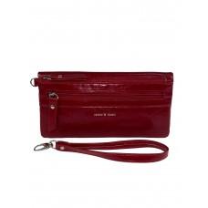 На фото 1 - Маленький кошелёк-клатч из мягкой искусственной кожи, цвет красный