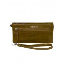 На фото 1 - Маленький кошелёк-клатч из мягкой искусственной кожи, цвет оливковый