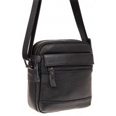 На фото 1 - Мужская кожаная сумка, цвет черный