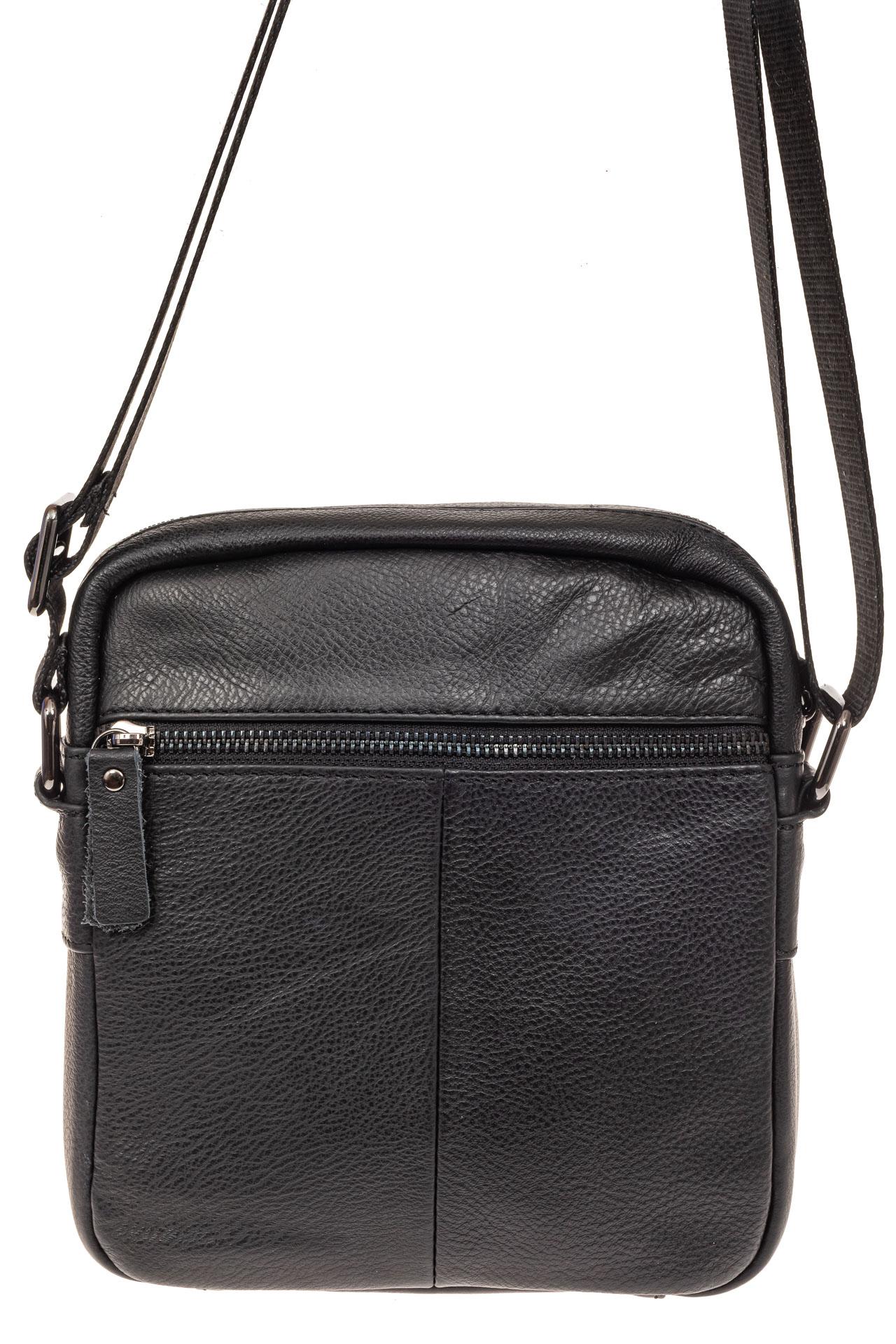 На фото 2 - Мужская кожаная сумка, цвет черный
