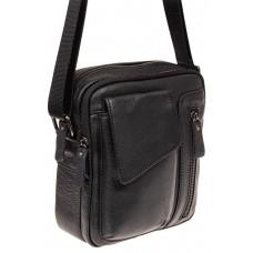 На фото 1 - Маленькая мужская сумка из кожи, цвет черны...