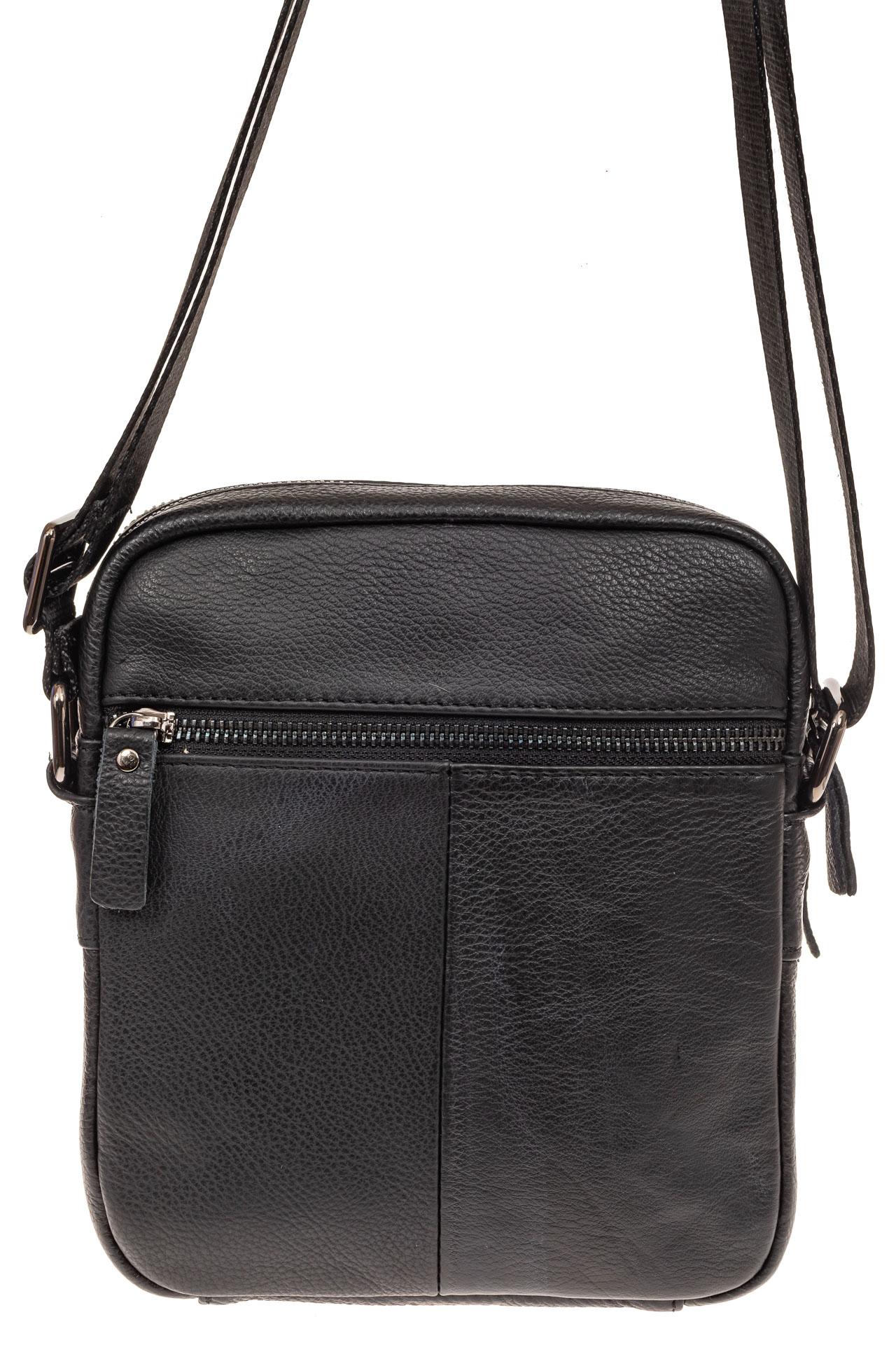 На фото 2 - Маленькая мужская сумка из кожи, цвет черный