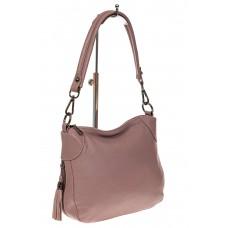 На фото 1 - Маленькая сумка хобо из натуральной кожи, цвет пудра