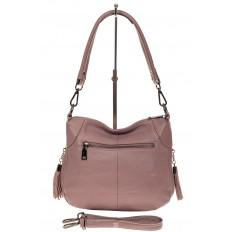 На фото 2 - Маленькая сумка хобо из натуральной кожи, цвет пудра