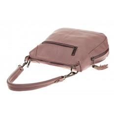 На фото 3 - Маленькая сумка хобо из натуральной кожи, цвет пудра