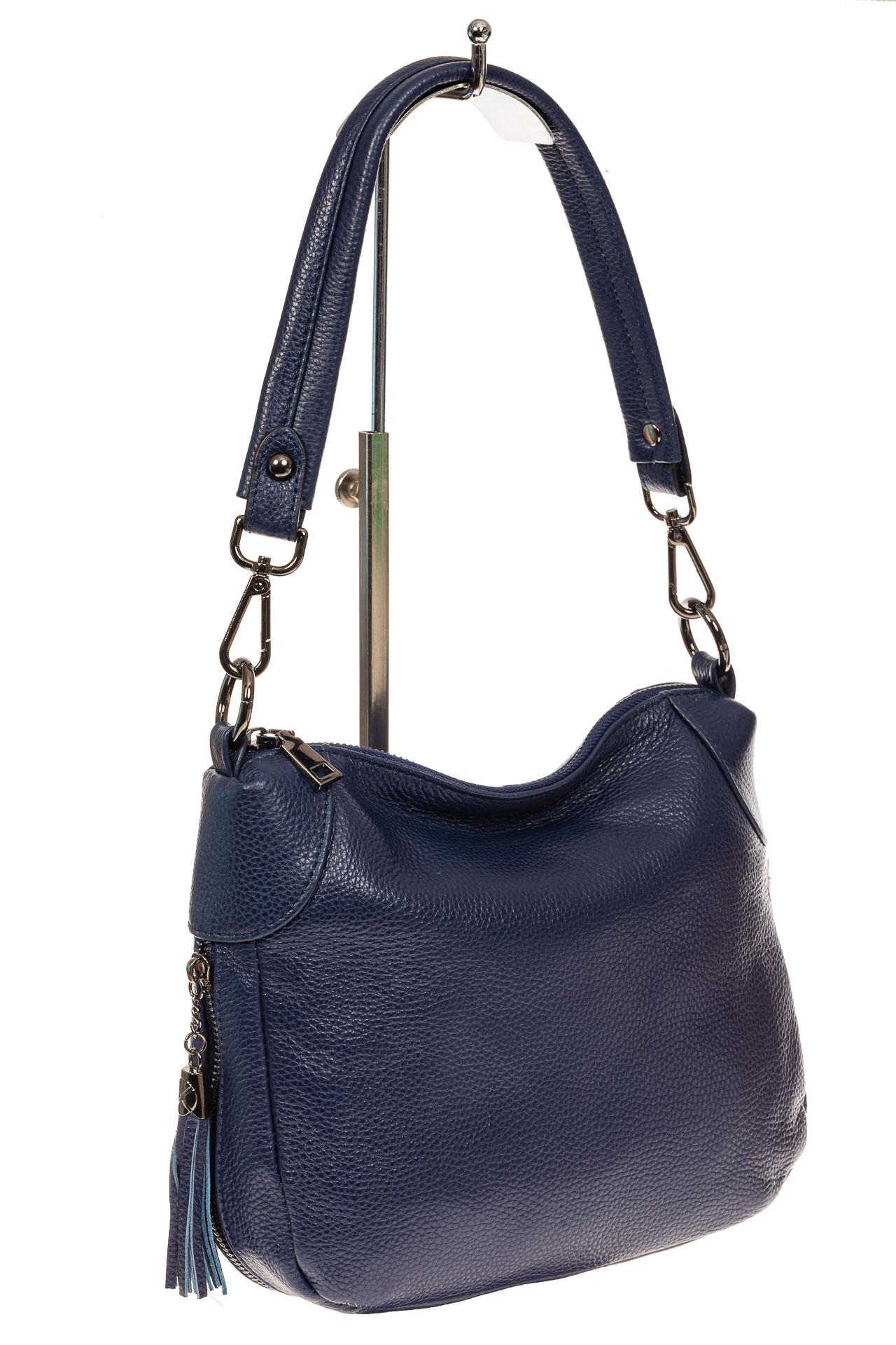 На фото 1 - Маленькая сумка хобо из натуральной кожи, цвет синий