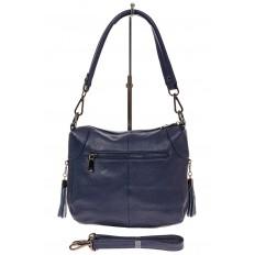 На фото 2 - Маленькая сумка хобо из натуральной кожи, цвет синий