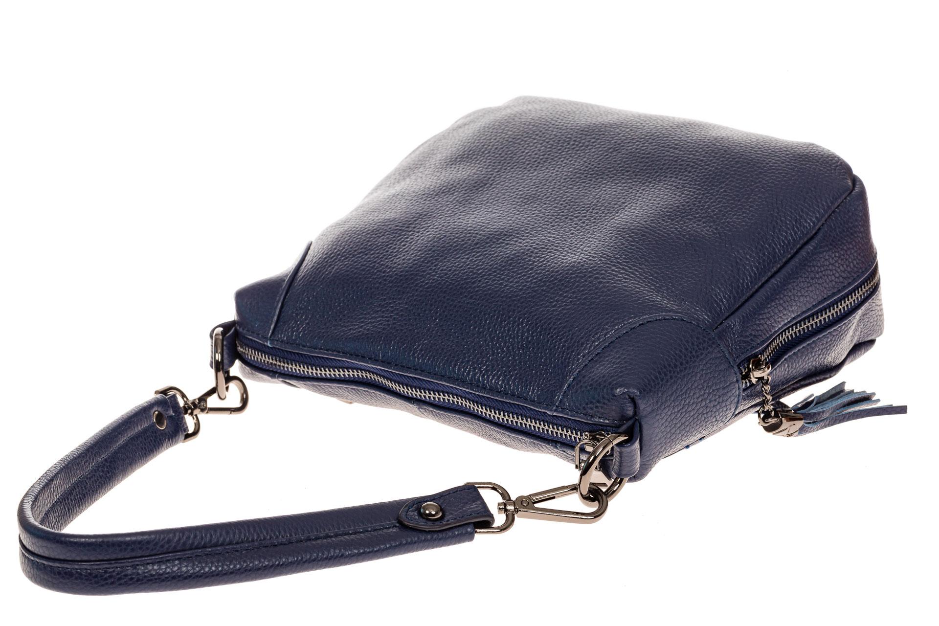 На фото 3 - Маленькая сумка хобо из натуральной кожи, цвет синий