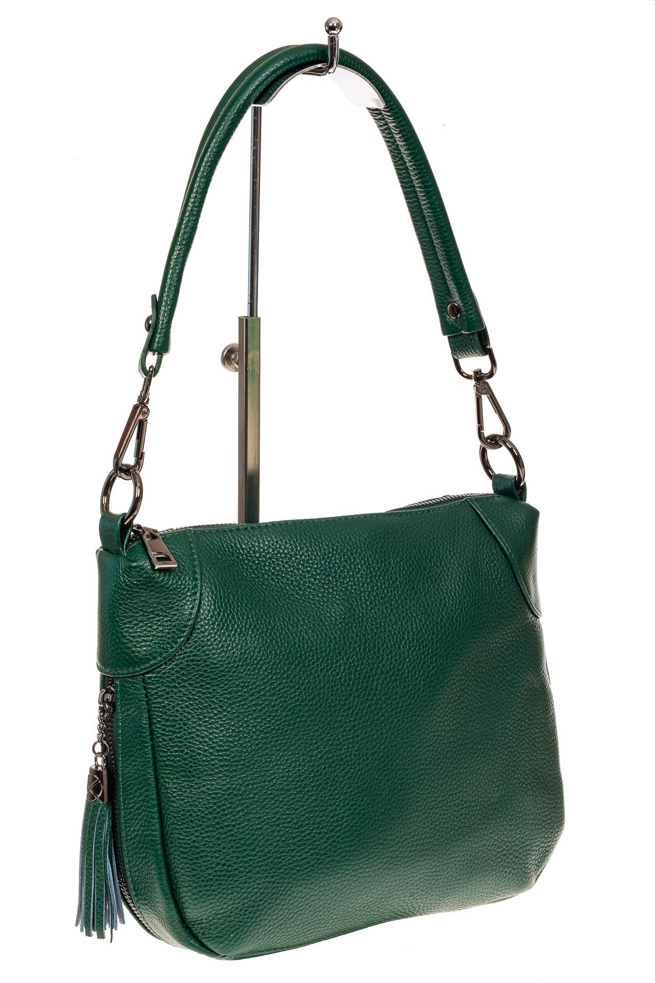 На фото 1 - Маленькая сумка хобо из натуральной кожи, цвет зеленый