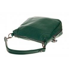 На фото 3 - Маленькая сумка хобо из натуральной кожи, цвет зеленый