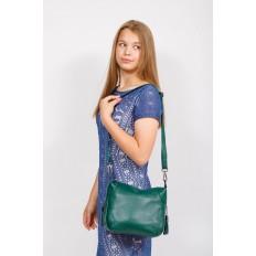 На фото 4 - Маленькая сумка хобо из натуральной кожи, цвет зеленый