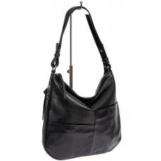 На фото 1 - Женская сумка хобо из натуральной кожи с асимметричными карманами, цвет чёрный