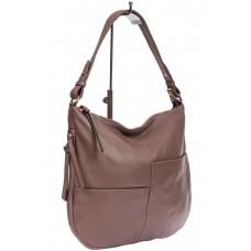 На фото 1 - Женская сумка хобо из натуральной кожи с асимметричными карманами, цвет сиреневый