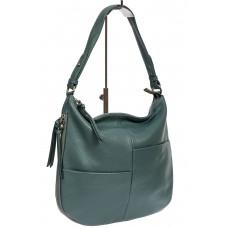 На фото 1 - Женская сумка хобо из натуральной кожи с асимметричными карманами, цвет бирюзовый
