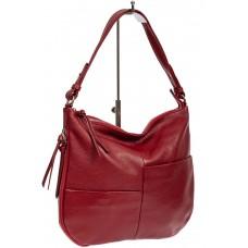 На фото 1 - Женская сумка хобо из натуральной кожи с асимметричными карманами, цвет красный