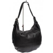 На фото 1 - Мягкая женская сумка хобо из натуральной кожи, цвет чёрный