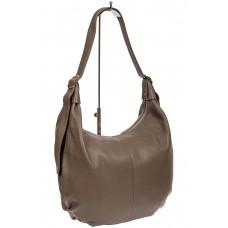 На фото 1 - Мягкая женская сумка хобо из натуральной кожи, цвет серый