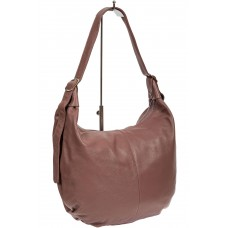 На фото 1 - Мягкая женская сумка хобо из натуральной кожи, цвет пыльная роза