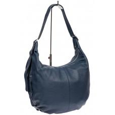 На фото 1 - Мягкая женская сумка хобо из натуральной кожи, цвет тёмно-синий
