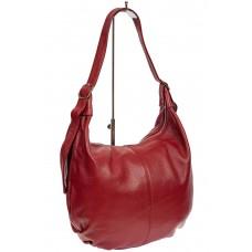 На фото 1 - Мягкая женская сумка хобо из натуральной кожи, цвет красный