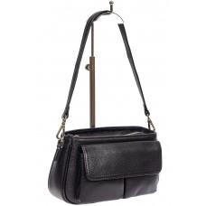 На фото 1 - Кожаная женская сумка-багет, цвет чёрный