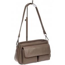 На фото 1 - Кожаная женская сумка-багет, цвет серый