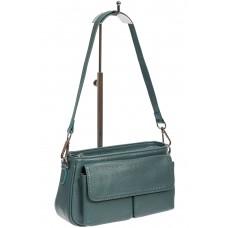 На фото 1 - Кожаная женская сумка-багет, цвет бирюзовый